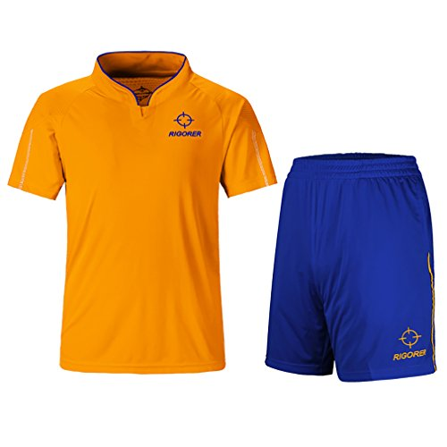 Sleeve Short Football Jersey (RIGORER Short-Sleeve Soccer Uniforms Jersey and Shorts Set Yellow&Blue XL)
