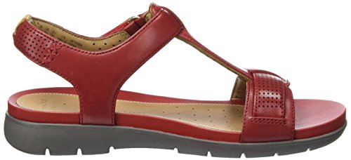 red Donna Clarks 261250864 Rosso Leather Sandali fAIWqT6U
