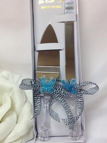 Butterfly Zebra Print Cake Knife and Server Set Wedding Birthday Baby Shower Keepsake Mom to - Knife Cake Butterfly