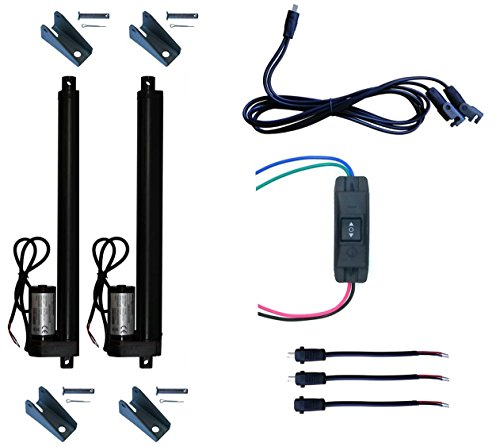 WindyNation (2pcs) 12 Volt, 225 lbs Linear Actuators + Up Down DPDT Switch  + Mounting Brackets + Connectors (Momentary or Maintained Up Down Switch)