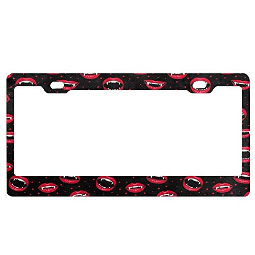 SDGlicenseplateframeIUY Fashion Halloween Decor Red Vampire Lips and Dots Blessed License Plate Cover Decorative Car Tag Sign Metal Auto Tag Novelty License -