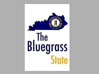Larger Than Life Prints 791512732694 Poster Kentucky - The Bluegrass State Map Flag (24x16 Poster),,24x16