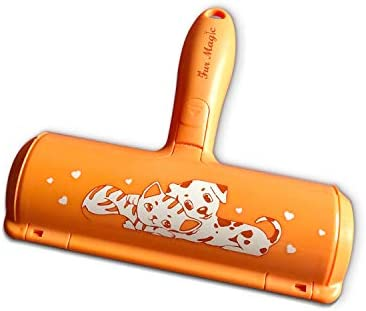 Fur Magic Reusable Pet Hair Remover Roller for Dog, Cat and Other Pet Hair with Improved Handle, Easy to Clean Lint Remover for Furniture, Sofa, Carpet and Bedding, Orange Limited Edition