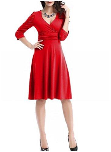 Cocktail Grande Accettano Orlo Del Comodi Elegante Womens Vita Orlo Rosso Grande Vestito nvx4qgfW