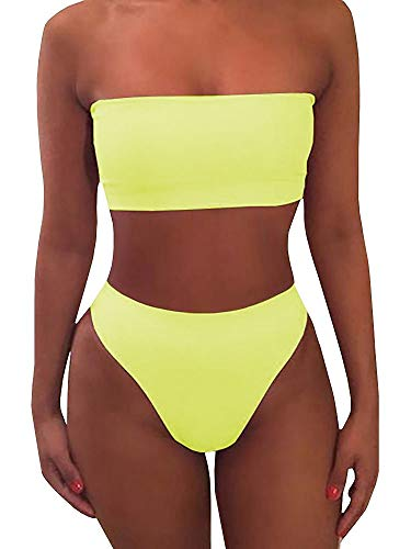 (Misassy Womens Sexy High Waisted Bikini 2 Piece Bandeau Swimsuit Top Cheeky Bottoms Set Yellow)