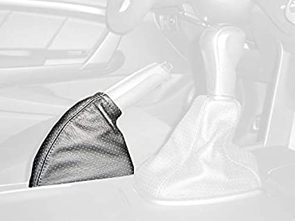 Black leather-Red thread RedlineGoods shift boot compatible with Ford Mustang 2010-14