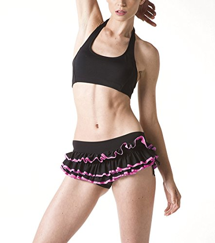 RUFFLE Pole Dance Short - Sexy Apparel for Dancing - Fitness Wear & Clothing for Woman (Medium, Black/Neon Pink)