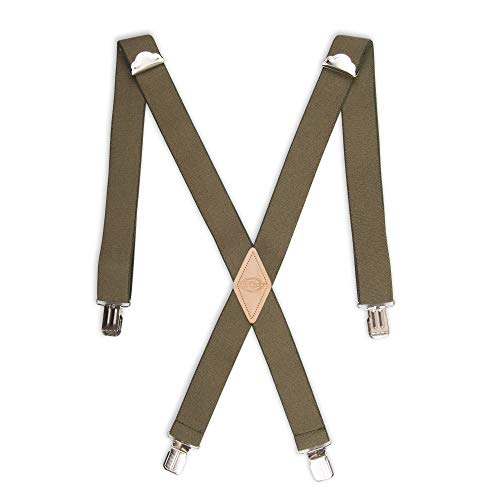 Dickies Men's 1-1/2 Solid Straight Clip Suspender,Olive,One Size