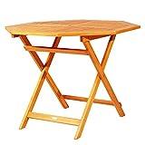 Outsunny Octagon Folding Bistro Table with Umbrella Hole Patio 39'' Outdoor Acacia Wood