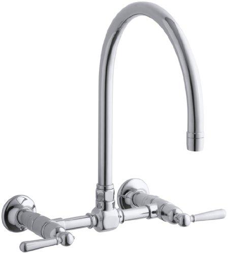 KOHLER K-7338-4-S HiRise Stainless Wall Mount Bridge Kitchen Faucet, Polished Stainless