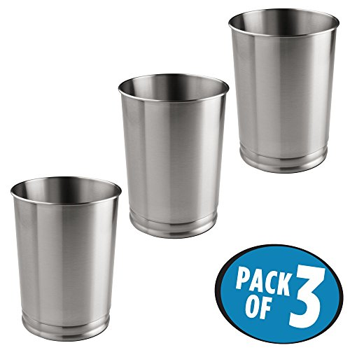 mDesign Round Metal Tall Trash Can Wastebasket, Garbage Container Bin for Bathrooms, Powder Rooms, Kitchens, Home Offices – Pack of 3 - Durable Steel Construction with a Brushed (Stainless Steel Bathroom Cabinets)
