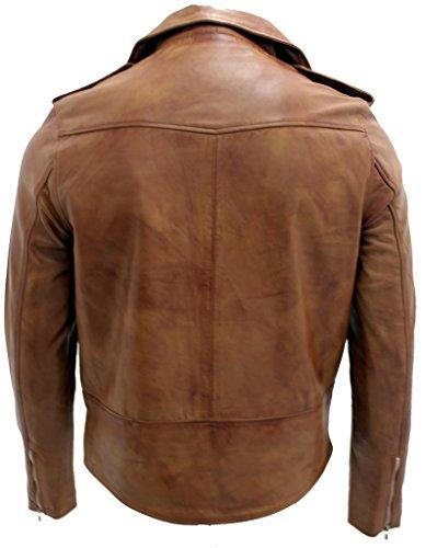 Hommes Bronzer Brando Veste motard en cuir