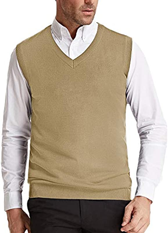 PJ PAUL JONES Męskie V-Ausschnitt Strickweste Klassisch Ärmellos Pullover Sweater Weste - Braun - Mittel: Odzież