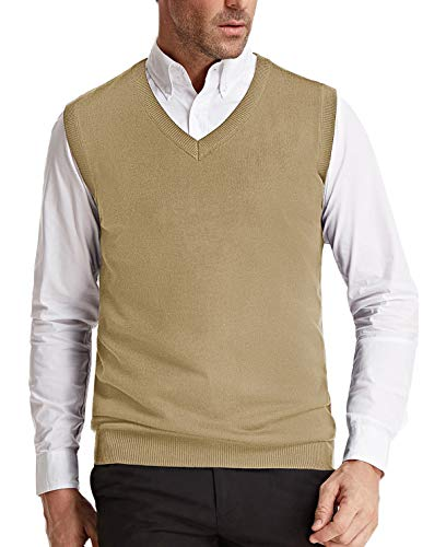 (Men's V-Neck Knitting Vest Classic Slim Fit Sleeveless Pullover(Camel, Size S))