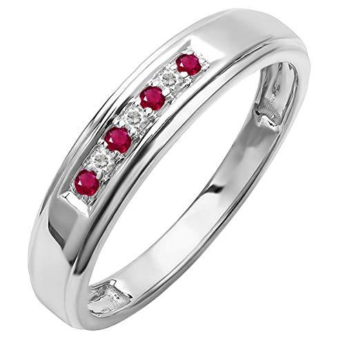 Sterling Silver Round Lab Grown Ruby & White Diamond Men's Seven Stone Wedding Band (Size 10)