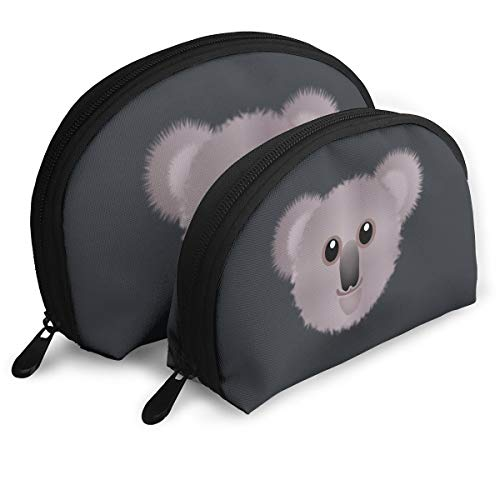 Small Shell Travel Cosmetic Bags, Little Koala Face Half Moon Stationery Pouch Bag Case Portable Toiletry Organizer with Zipper for Women Girls, Set of 2
