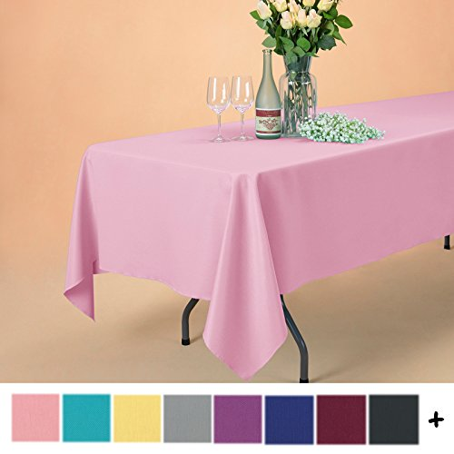 Remedios 60 x 102-inch Rectangle Polyester Tablecloth Table Cover - Wedding Restaurant Party Banquet Decoration, - Rectangle Pink