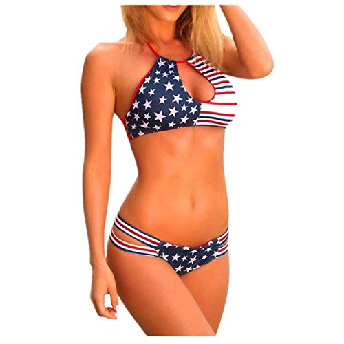 Mysky Women Lingerie, American Flag Printed Bandage Bra Swimsuit Bathing Beachwear Bikini (M, Red) from My*sky