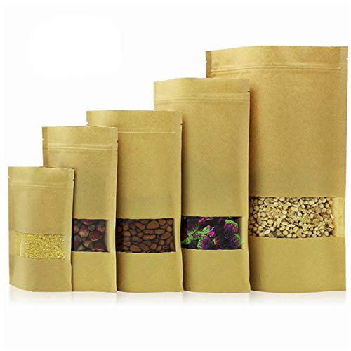 Food Storage bags,50 Pack Resealable Kraft Paper bags with Transparent Window 5 Different Sizes, Zip Lock Stand Up Food Bags for Nuts Candy Snack Dried Fruits Coffee Tea Storage
