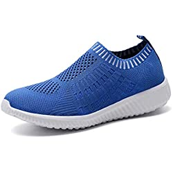 konhill Women's Lightweight Casual Walking Athletic Shoes Breathable Mesh Work Slip-on Sneakers 6 US Blue,36