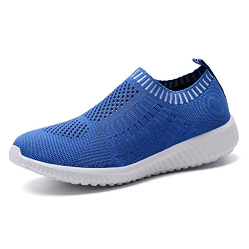 konhill Women's Lightweight Casual Walking Athletic Shoes Breathable Mesh Work Slip-on Sneakers 10 US Blue,42
