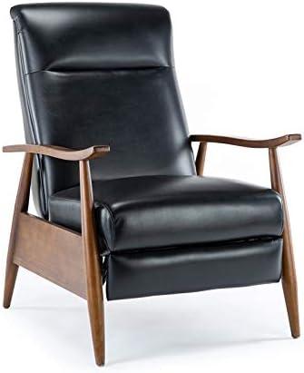 Comfort Pointe Solaris Black Faux Leather Wooden Arm Push Back Recliner Chair