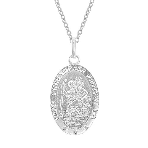 Sterling Silver Saint St  Christopher Oval Pendant Charm Necklace 16X11 Mm