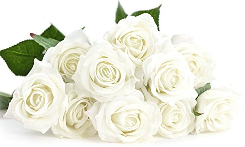 FiveSeasonStuff 10 Stems of Real Touch Silk Roses Petals Feel and Look like Fresh Roses Artificial Flower Bouquet for Wedding Bridal Office Party Home Decor (White)