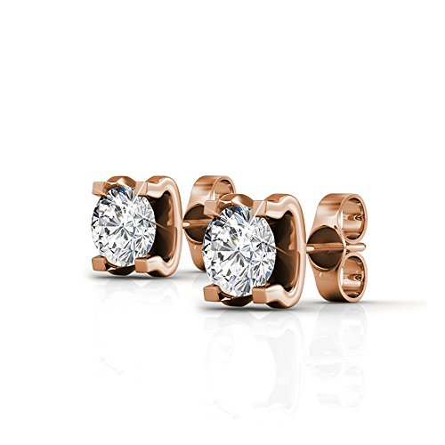 Round None Rose (Cate & Chloe Clara Bright 18k Rose Gold Earrings w/ Swarovski Crystals, Unique Sparkling Rose Gold Stud Earrings Solitaire Round Diamond Crystals, Wedding Jewelry - MSRP $119 (rose-gold-plated-brass))