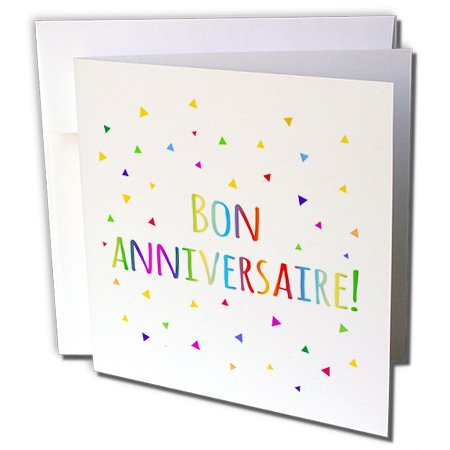 3dRose Bon Anniversaries - Happy Birthday In French Greeting Cards, 6