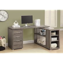 Monarch Specialties Reclaimed-Look Left/Right Facing Corner Desk, Dark Taupe