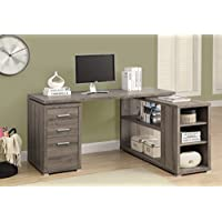 monarch specialties hollowcore left or right facing corner desk dark taupe office wood