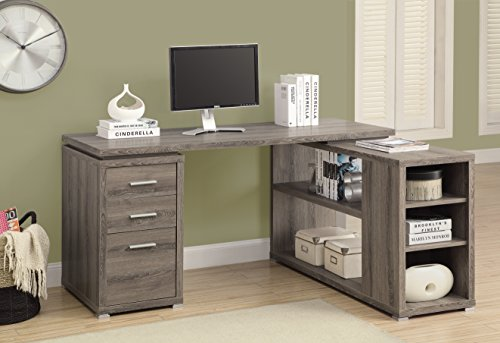 Monarch Specialties Hollow-Core Left or Right Facing Corner Desk, Dark Taupe by Monarch