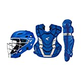 EASTON GAMETIME Baseball Catchers Equipment Box Set | Youth | Royal | 2020 | Small Helmet | 15 in Chest Protector + Commotio Cordis Foam | 14 in Leg Guards | Steel Cage | NOCSAE Approved All Levels