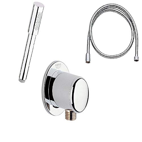 (Grohe Sena Handshower Stick with Shower Hose and Wall Supply Elbow (Hand Shower with Hose and Elbow))