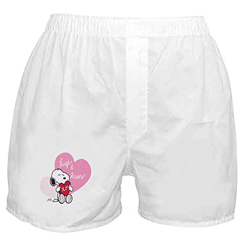 CafePress - Snoopy - Hugs and Kisses - Novelty Boxer Shorts, Funny Underwear White