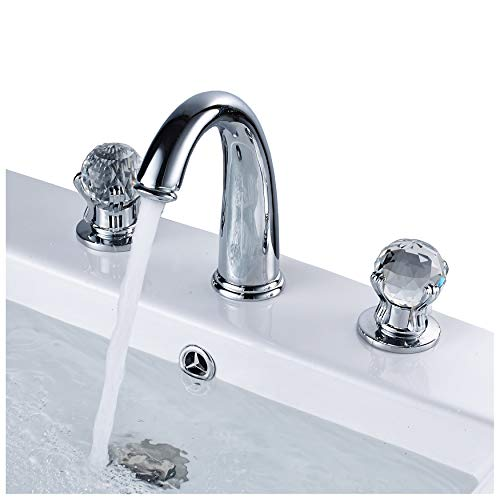 - Rozin Widespread 2 Crystal Knobs Basin Faucet 3 Holes Sink Mixer Tap Chrome Finish