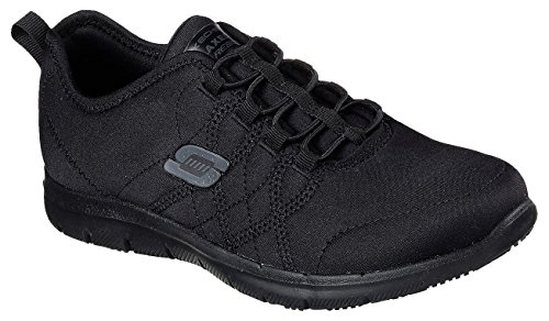 Lace Memory - Skechers Work Womens Ghenter - Srelt Black Jersey Mesh/Trim Oxford, 10 W US