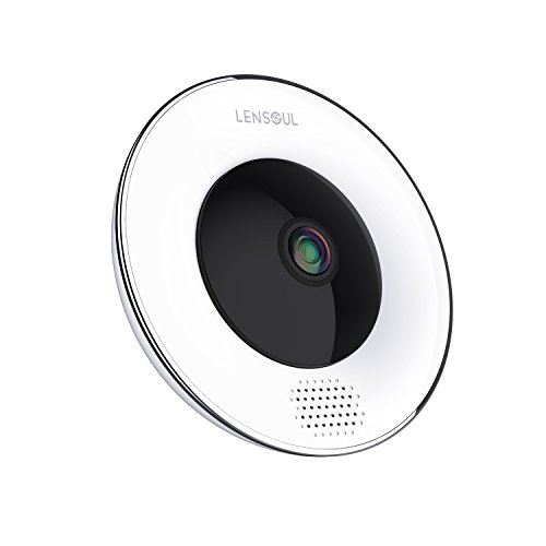 Lensoul 3 Mega-Pixel Security Camera, Wireless Ip Camera 360 Degree 2.4Ghz Fisheye Camera Built in Two-Way Audio, Motion Detection, Panoramic Camera with Night Vision-Cloud Service Available (Wireless 2.4 Camera Ghz)