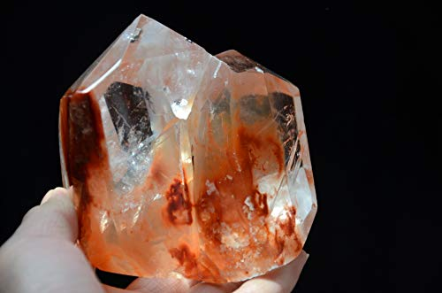 Rare Real Tibet Himalayan High Altitude Clear Manifestors Red Phantom Crystal Quartz Cluster 3.81 inch Spiritual Reiki Healing
