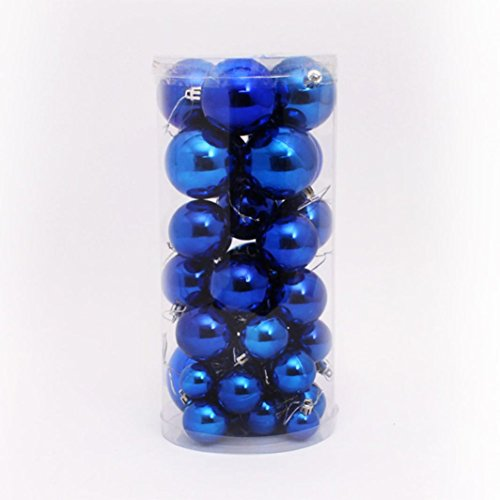Voberry® 36 Pcs Christmas Tree Decoration Shiny & Matte Christmas Ball Ornaments (Blue)