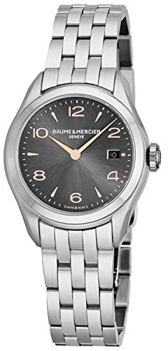 Baume & Mercier Clifton Womens Stainless Steel Watch - Classic 30mm Analog Gray Face Ladies Watch with Arabic Numbers Date and Sapphire Crystal - Swiss Made Quartz Luxury Dress Watches For Women 10209