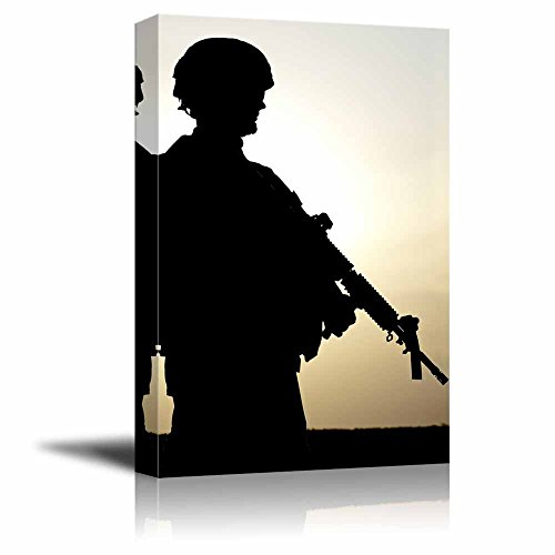 Silhouette of Us Soldier with Rifle at Sunset Wall Decor