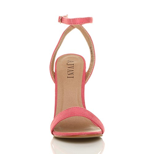 Size Shoes Coral There High Suede Sandals Women Ajvani Barely Heel xBR0Rnw