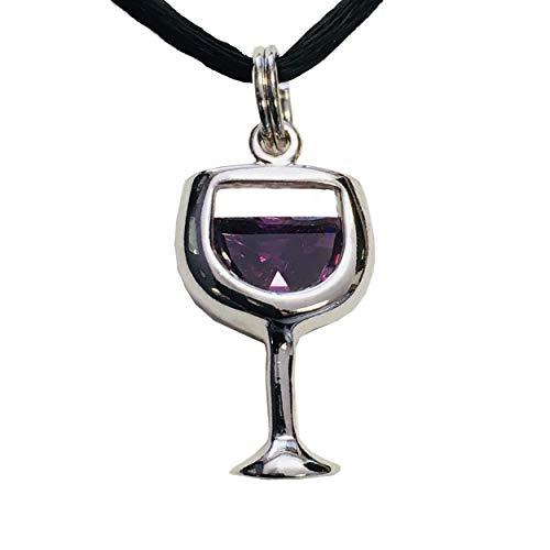 Wine Goblet Pendant, Purple CZ - Rhodium Plated Sterling Silver Wine Glass Charm Jewelry