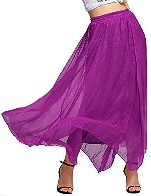 Corgy Women Causual Summer Chiffon Ankle Length Long Maxi Skirt