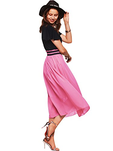 Amoretu Womens Ruffle Sleeve Empire Waist Chiffon Midi Dress with Sleeves Pink L