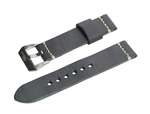 Swiss Reimagined Black Wax Finish Leather Watch Band with Satin Finish Stainless Steel Buckle - 22mm (Thin Cuff Watches)