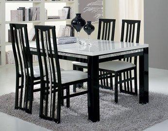 Table De Salle A Manger Rectangulaire Design Laquee Noire Et Blanche