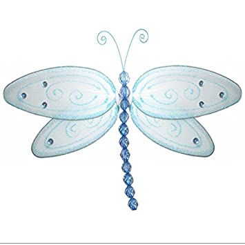 Hanging Dragonfly Small 5 Blue Glitter Nylon Dragonflies Mesh Decorations Decorate Baby Nursery Bedroom, Girls Room Ceiling Wall Decor, Wedding, Birthday Party, Baby Shower, Bathroom, 3D Art Bugs-n-Blooms